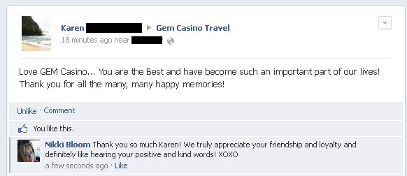 Gem Casino Travel Testimonial